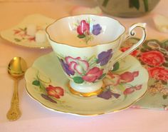 Vintage Tea Cup and Saucer Set | Royal Standard Fine Bone China Green Floral 'Fair Lady' England