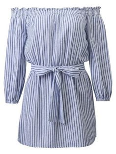 Striped Off Shoulder Belted Dress - Blue And White