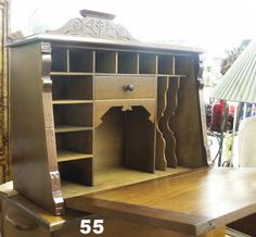 portable desk   Portable Drop Front Desk, Solid Walnut - Inman Antique Mall, the Great ...