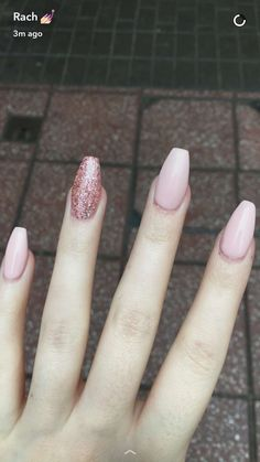 Coffin shaped nails- nude pink and glitter