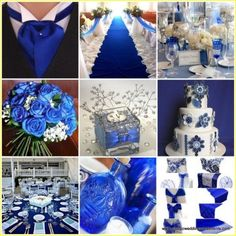 Silver and blue wedding decorations 00119