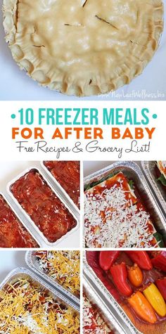 Download a list of 10 Crockpot Freezer Meals for After Baby!