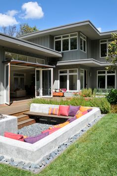 31 Inspiring and stylish outdoor room design ideas... Not crazy about this style but like the sunken seating concept.