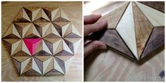 This 3D geometric piece of art was made out of ONE BOARD!  Free tutorial