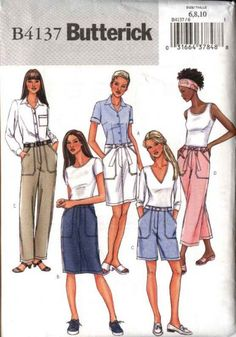 Butterick Sewing Pattern 4137 B4137 Misses Size 6-10 Easy Straight Skirt Shorts Cropped Long Pants    Butterick+Sewing+Pattern+4137+B4137+Misses+Size+6-10+Easy+Straight+Skirt+Shorts+Cropped+Long+Pants