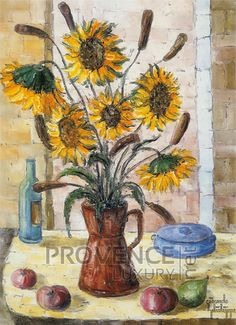 """Vase aux Tournesols (Ref/GIR035) by Philippe Giraudo - Reproduction 70 x 50 cm (19.75"""" x 27.60"""") - $ 24.99 Without Borders, Meet The Artist, Reproduction, Vase, Create Space, French Riviera, French Artists, Impressionist, Vivid Colors"""