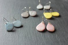 Ceramic handmade small drop dangle earrings by Skelini on Etsy