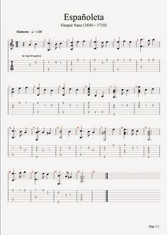 Blog de partituras para guitara en solfeo y tablatura de diferentes estilos.