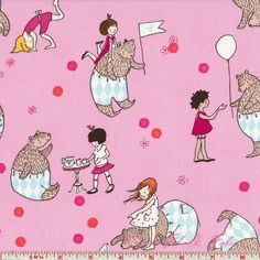 Sarah Jane Children Lets Pretend Pink by lucyintheskyquilts Let's Pretend, Michael Miller Fabric, Lace Fabric, Snoopy, Buy And Sell, Textiles, Let It Be, Bear, Sewing