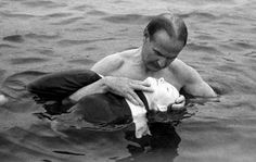 This photo shows Asmund Laerdal with the first model of the Resusci Anne. It is used to train doctors on the proper way of doing CPR.