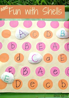 Alphabet Fun with Seashells!  Create a fun letter activity using Seashells.  A playful way to focus on the alphabet this summer from @The Educators' Spin On It
