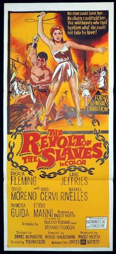 REVOLT OF THE SLAVES Original Daybill Movie Poster Rhonda Fleming