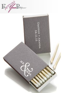Personalized matchboxes make great wedding favors that your guest will love and actually use. Design yours at ForYourParty.com!