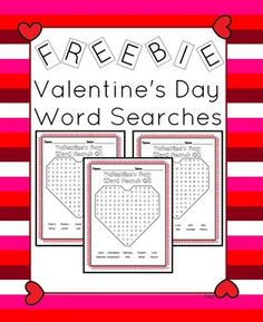 Freebie  Here is a freebie for you. It is 3 Valentine's Day word searches. Each has 10 words. Each is shaped like a heart. Great for morning work or when students finish early the week of Valentine's Day.  Product Details 3 word searches 10 words per search shaped like a heart  Please vote for my product.