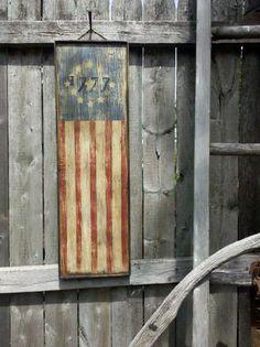 Primitive Aged 1777 American Flag Wood Sign by MillRiverPrimitives, $34.00