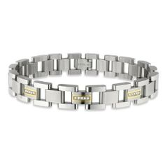 "STEL Stainless Steel and 14k yellow gold Inlay Diamond Bracelet 8 1/2"" STEL. $275.00. Shipped is black STEL presentation box. 8 1/2"". Bracelet is Accented 14k Yellow Gold Inlay. 15-.01ct genuine diamonds"