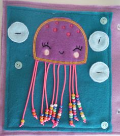 Create a Custom Quiet Book, Busy Book or Busy Bag with a variety of pages, both puzzles and activities available!    This listing is for the cute Jellyfish counting page shown. This happy jellyfish has 10 tentacles to count beads. The first tentacle has one bead; the second has two beads, and so on. There are three bubbles to button on and off. All quiet book pages are approximately 9.5 x 9.5 and are made of eco-friendly felt.    Items may vary from samples pictured according to available…