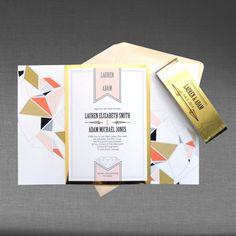 Wedding Invitation DEPOSIT Modern Geometric with by inkblossomca