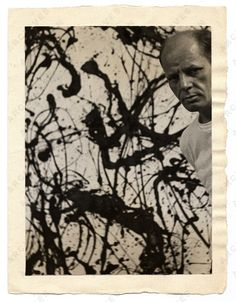 Jackson Pollock with his painting Untitled Number 32, 1954