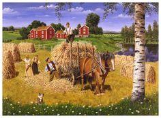 A summer poster, Jan Bergerlind Horse Drawn Wagon, Dream Pictures, Arte Country, Summer Poster, Creation Photo, Russian Folk Art, Scandinavian Gnomes, Farm Art, Nordic Art