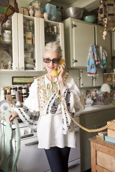 """Silver-Foxy Linda Rodin's NYC Apartment #refinery29  http://www.refinery29.com/linda-rodin-my-style#slide-16  """"Showing off my Czech couture outfit. I was just in the beautiful city of Prague. So many treasures there!"""""""