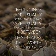 """""""Beginnings are usually scary, and endings are usually sad, but it's everything in between that makes it all worth living."""" -Bob Marley"""