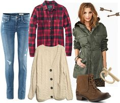 Pair your favorite flannel shirt with your chunkiest knit cardigan. Skinny jeans will complement the outfit without drawing attention away from the overall look. Add a military anorak, and finish with simple jewelry and combat boots.