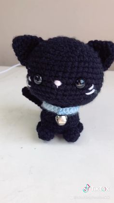 The cutest crocheted black cat amiguri plush. Crocheted with a 5 mm crochet hook. Bendable tail. Blue collar with a bell. Stands on its own. Made with yarn, safety eyes, and stuffing. Tiktok with cool transition. Kawaii Crochet, Cute Crochet, Crochet Crafts, Yarn Crafts, Crochet Hooks, Crochet Animal Patterns, Crochet Patterns Amigurumi, Crochet Animals, Knitting Projects