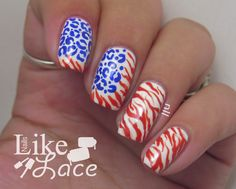 NailsLikeLace: Animal Print American Flag - Bestie Twin Nails with Peace, Love Polish Funky Nails, Cute Nails, American Flag Nails, 4th Of July Nails, July 4th, Nail Dipping Powder Colors, Western Nails, Firework Nails, Country Nails