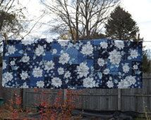 Winter Table Runner, Blue, White, Silver, Quilted, Cotton, Winter Decor, Sparkly, Poinsettias, Floral, Rectangular, Housewarming Gift