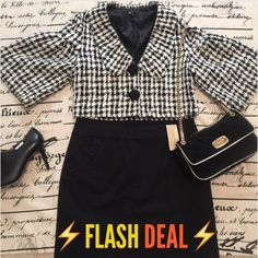 ⚡️FLASH DEAL⚡️ Adorable Houndstooth Jacket ❄️ So cute and so professional! Great condition! Bundle and Save! Aziz Jackets & Coats Blazers