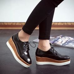 New-Womens-Square-Toe-Lace-Up-Platform-Wedge-Creeper-Oxfords-Mid-Heel-Heel-Shoes