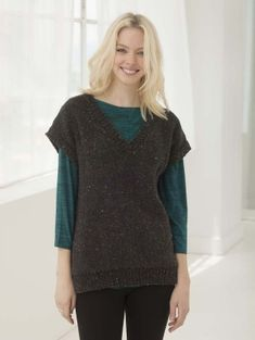 Use your favorite tweed colorwary of Heartland to create the heathered look seen in this knit vest