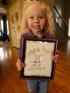Have your child draw a picture for her / his teacher and then embroider over the drawing and frame it. Cute idea.