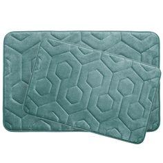 Hexagon 2 Piece Plush Memory Foam Bath Mat Set