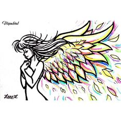 WEBSTA @ vicpalval - #angel #angelwings #wings #alas #colors #colorful #colores #girl #drawing #lineart #sketch #doodle #doodleaday #dibujo