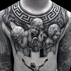 Tattoo Trends – Angles With Jesus Tattoo Designs For Guys On Chest awesome. - Tattoo Trends – Angles With Jesus Tattoo Designs For Guys On Chest awesome Tattoo Trends – - Tattoos 3d, Trendy Tattoos, Body Art Tattoos, Sleeve Tattoos, Tattoo Sleeves, Unique Tattoos, Cool Chest Tattoos, Chest Piece Tattoos, Pieces Tattoo