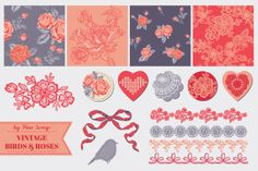 Check out Vintage birds and roses scrap by FineScrap on Creative Market