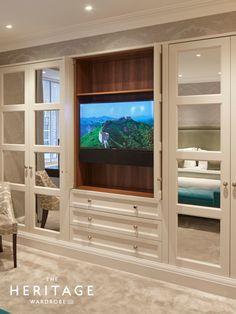 Bespoke wardrobe setup with doors to hide the TV! Built In Wardrobe Ideas Alcove, Bedroom Built In Wardrobe, Bedroom Built Ins, Fitted Bedroom Furniture, Corner Wardrobe, Fitted Bedrooms, Bedroom Closet Design, Tv In Bedroom, Bedroom Green