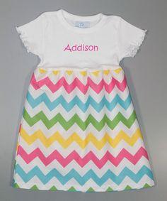 Look at this #zulilyfind! White Zigzag Personalized A-Line Dress - Toddler & Girls by Princess Linens Layette #zulilyfinds