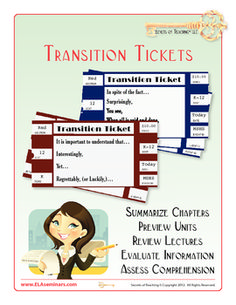 TRANSITIONS: Students use Transition Tickets to: 1) summarize chapters, 2) preview units, 3) review lectures, 4) evaluate information, & 5) assess comprehension.  30 tickets (containing four stems and directions for using them) are included in this product.   (priced item)  VIEW VIDEO DEMO: http://www.youtube.com/watch?v=lQztuimOyKg=plcp