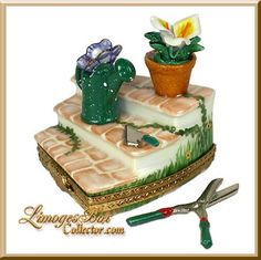 Garden Steps with Tools & Flower Pot Limoges Box - Beauchamp