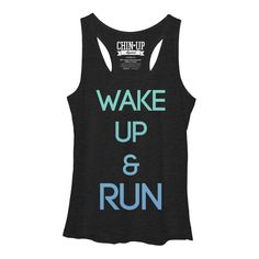 CHIN UP Women's - Wake Up and Run Racerback Tank #chinupapparel #run #running #runner