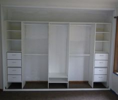 Lovely Immaculate White Open Closet Cabinet With Shoes Shelves And Clothing  Drawers As Inspiring Built In Wardrobe Designs