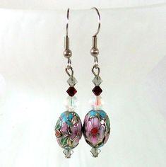 Handmade Dangle Earrings with Light Blue by JillsTreasureChest