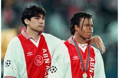 Ajax : Sonny Silooy (left) with Edgar Davids (right) in the 1996 UEFA Champions League Final.