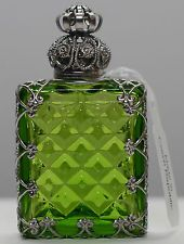 EXCLUSIVE VINTAGE CZECH HANDMADE FILIGREE GREEN PERFUME/OIL BOTTLE-SILVERED!!