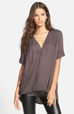 Leith Relaxed Surplice Front Shirt | Nordstrom