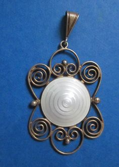 Antique Norway Sterling Pendant With White Enamel Guilloche Modernist Aksel Holmsen