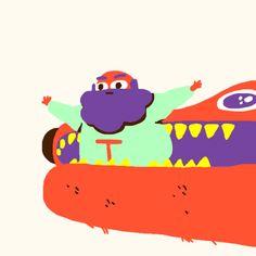 Une sélection des GIFs animés étranges et mignons de l'illustrateur et animateur américainCharles Huettner.                    Images